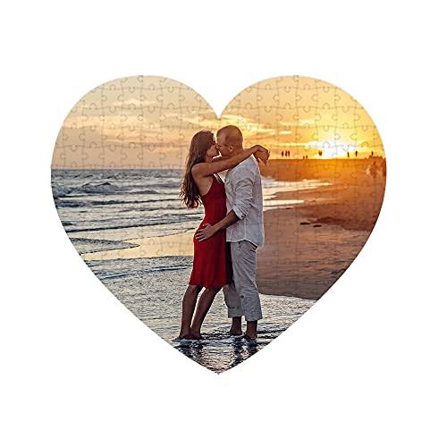 Puzzles personalizados 111 piezas Corazón con foto y texto | Máxima calidad de impresión | Tamaño: Corazón 111 piezas (35 x 31 cm) - Sin caja personalizada