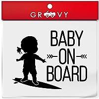 赤ちゃん 子供 乗ってます ステッカー サーフィン サーファー ver3 海 ハワイ baby in car ベビー イン カー かわいい おしゃれ 車 ブランド シール グッズ_1221 (ブラック)