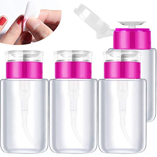 Demason 4 Pack Bomba Vacía Botella, Dispensador para Quitaesmalte, Herramientas de Uñas, Esmalte de Uñas, Recipiente para Líquido, Botella Pequeña Transparente
