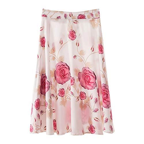 Salalook dames lange rok voor strand, lange rok in grote grootte, korte damesrok, middelang, plissé rok met digitale druk, damesrok, middenang, plissé