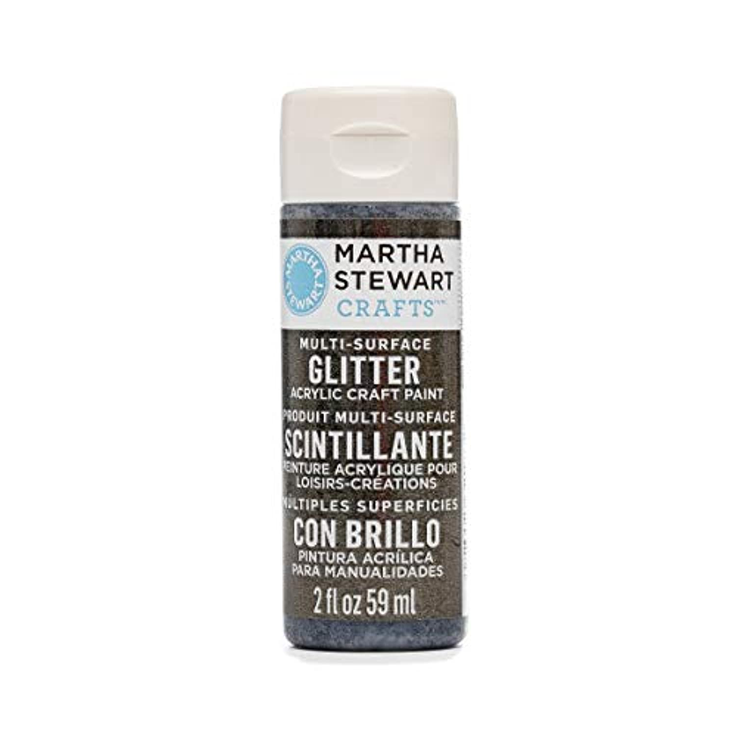 Martha Stewart Crafts Multi-Surface Glitter Acrylic Craft Paint in Assorted Colors (2-Ounce), 32183 Onyx