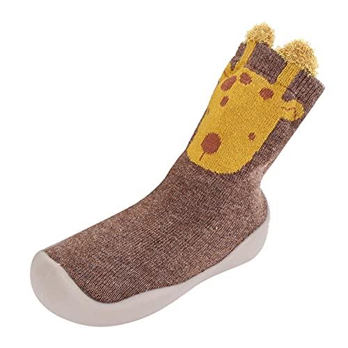 Zapatos para bebé de 6 a 12 meses, zapatos para niños pequeños, zapatos para aprender a andar, zapatos para niños, zapatos de suelo blandos, zapatos de bebé, calcetines de dibujos animados, marrón, 26