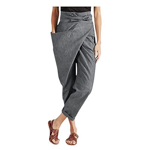 Pantalones Harem Plus Tamaño Mujeres Casual Suelto Cintura Alta Encaje Correa Sólido Uno