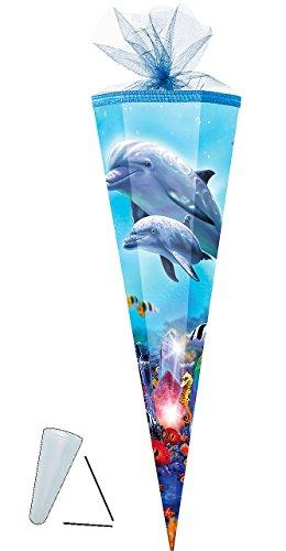 Schultüte -  Delfin Familie / Fische  - 35 cm - rund - mit Tüllabschluß - Zuckertüte - mit / ohne Kunststoff Spitze - für Mädchen & Jungen - Delfine - Delfi..