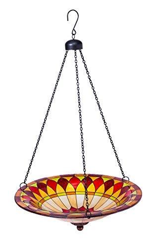"Evergreen Garden Tiffany-Inspired Hanging Glass Bird Bath Bowl - 13.5""L x 13.5' W x 22.75' H"