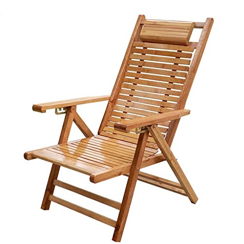XITER Dekstoel Strandwerf Zwembad Opvouwbare Ligstoel Verstelbare Chaise Bamboe Lounge Stoel Binnen of Outdoor Relax Stoel