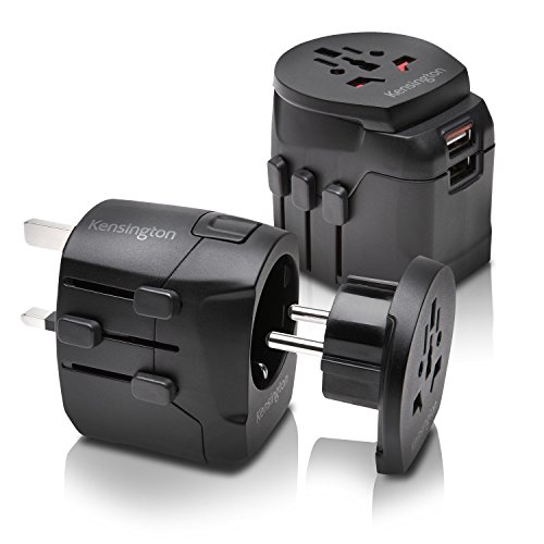 Kensington International Grounded 3 Prong Travel Adapter with Dual 2.4A USB Ports, Black (K38238WW)