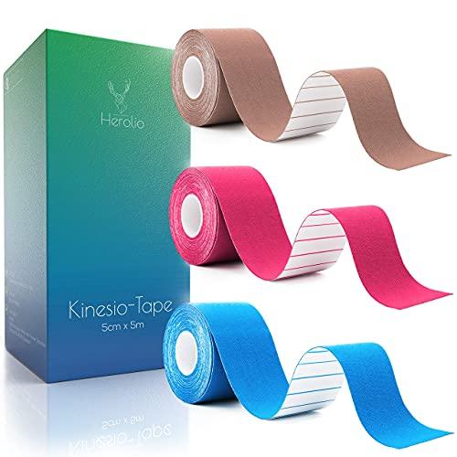Herolio Physio Tape, Kinesiology Tape - Kinesiotapes Set (3 x 5cm x 5m) - Kinesio - Tape für Fingertape, Crosstape oder Handgelenk Tape
