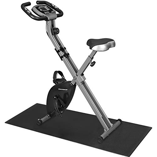 SONGMICS Cyclette Pieghevole, Bicicletta da Allenamento, Resistenza Magnetica a 8 Livelli, con Tappeto Protettivo, Sensore d\'Impulso, Supporto Cellulare, capacità di Carico 100 kg, Nero SXB11BK