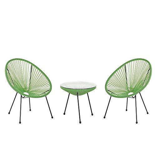 Beliani Conjunto de balcón de ratán sintético Verde 3 Piezas 2 sillas una mesita Acapulco II