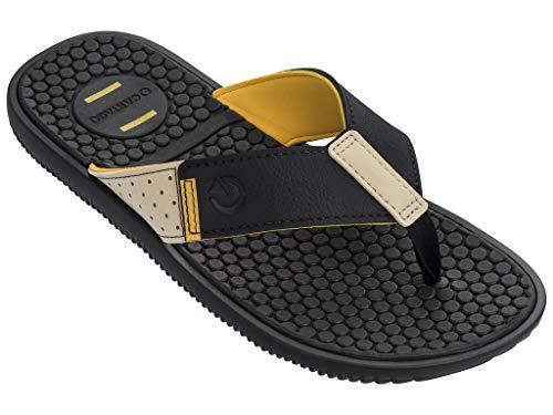 Cartago Barcelona II Herren-Flip-Flops Konformierende EVA-Einlegesohle, Mehrere (schwarz / gelb), 38.5 EU