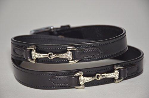 Equipride inglese cinture di pelle morbida imbottitura in pelle con cristallo bit, Nero, 65 cm