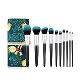 BTYAY Pinceles de maquillaje profesional Conjunto Herramientas de belleza verde Eyeshadow Foundation Make Up Pinceles Cosmetics Set 10pcs
