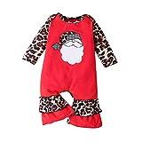 YONSIN Unisex Baby Strampler Neugeborenes Baby Baby Weihnachten Cartoon Weihnachtsmann Drucken Leoparden Patchwork Strampler Jumpsuit