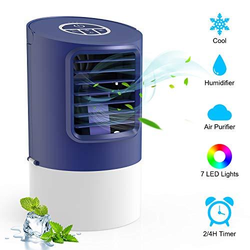 Klimagerät Wasserkühlung, TedGem Verdunstungskühler Luftkühler, Verdunstungskühler Mini, Air Cooler Klimagerät, 7 LED-Leuchten, 3 Geschwindigkeiten mit Tragbarem Griff für Zuhause und Büro (Blau)