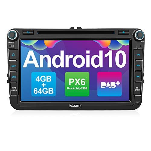Vanku Android 10 Autoradio für VW Radio 64GB+4GB PX6 mit Eingebautes DAB + Navi CD DVD Player Unterstützt Qualcomm Bluetooth 5.0 DAB + WiFi 4G 8 Zoll IPS Bildschirm 2 Din