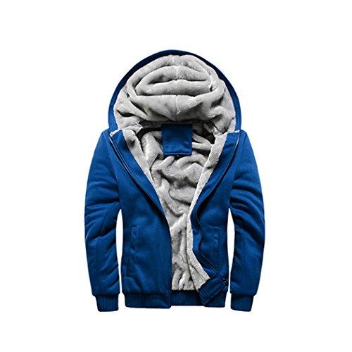 Rocky Sun Men Winter Hooded Jacket Hoodie Faux-Fur Lined Warm Coat Blue L