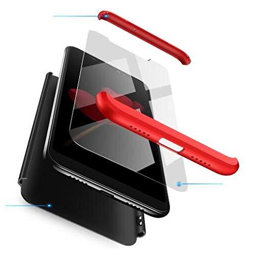 BIKANA Funda Compatible para Xiaomi Mi Mix 2S Carcasa[2*Cristal Templado] 3 in 1 Slim 360°Full-Protección PC Rígide Textura Mate Antideslizante Anti-caída Caso Cover-Rojo Negro