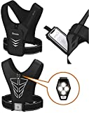 """Running Vest and LED Warning Light, 7"""" Phone Holder Vest for Training Running Cycling Magnetic Attraction Prevent Shaking; LED Light, Key and Card Holder. USA Designed and Warranty (Black, 7.1)"""
