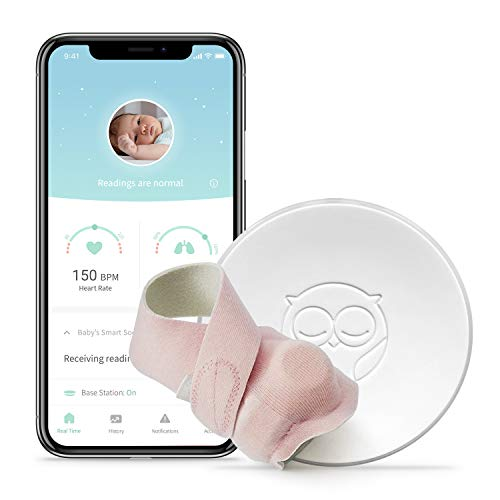 Owlet Smart Pink Sock Baby Monitor - Track Heart Rate & Oxygen Levels - With Smart Notifications - See Hours Slept and Historical Trends - The Ultimate Baby Monitor for Peace of Mind