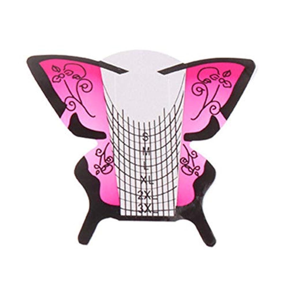 フィードバックホバー折RETYLY 300個/ロール ネイルアートフォーム蝶彫刻のヒントステッカーガイド拡張アクリルUVジェルツール 給紙トレイB