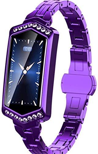 ZHENAO Rastreador de Fitness Calorie Watch_Female Smart Heart Rate Presión Arterial Recordatorio Gps Pasos Deportes Calorie Reloj, Purple Sport Fitness Tracker Moda
