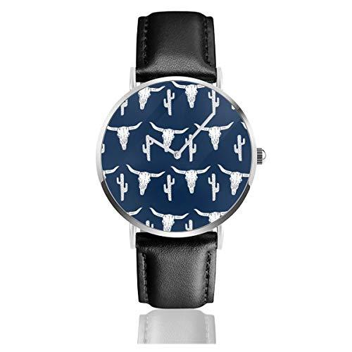 Große Totenkopf-Armbanduhr mit Totenkopf-Motiv, Marineblau, Kaktus, Texas, Western, für Jungen, Marineblau, Lederband, Lederarmband, klassisch, Quarzuhr