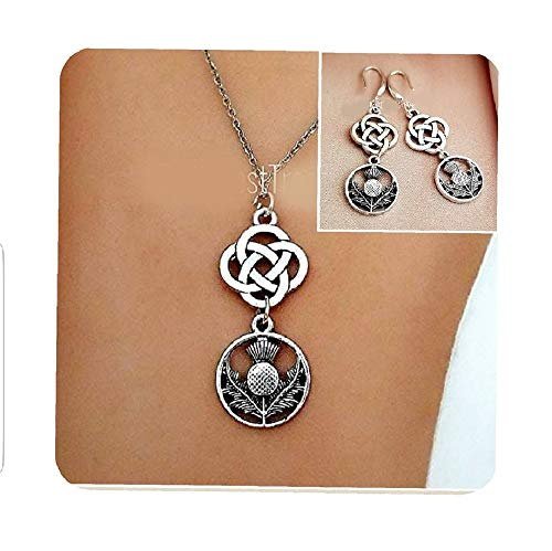 Scottish Irish Celtic Thistle Necklace and Earrings for Teens Women-Celtic Friendship Love Knot Jewelry gifts