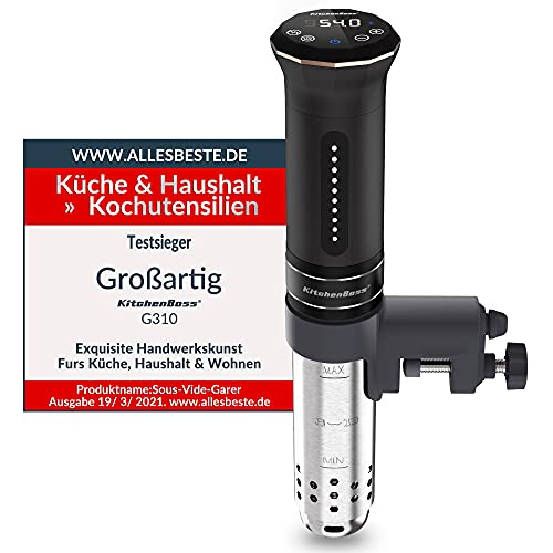 KitchenBoss Sous Vide Garer Stick Präzisionskocher•1100W •360° Zirkulation•40℃-90℃ Temperaturbereich (± 0,1 ° C) • IPX7 Wasserdicht • LED Display• inkl.10 Stk Vakuumbeutel