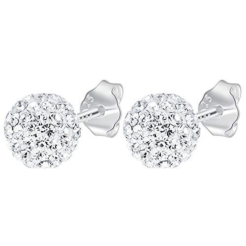 Ditz Damen Ohrstecker 925 Silber Stecker mit Zirkonia Strass Glitzer Shamballa Perlen Kugeln Perlen-Ohrringe Perlenohrstecker rund weiß 8mm