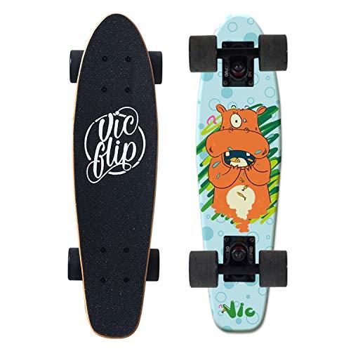 HMAKGG Skateboard Mini Cruiser Retro Board Tabla Completa para Principiantes, niños, Adolescentes y Adultos, Skateboard Professional Scooter Surf Skate Adecuado para niños niñas,C