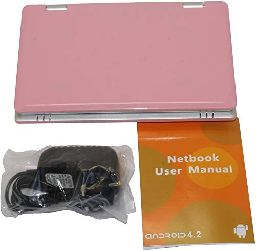 """7"""" Inch Screen Kids Netbook Laptop, Powered by Android 5.1 OS, 1gb Ram, 8gb Storage, HDMI, USB, Camera, Bluetooth & WiFi + Customized Laptop Bag.- Pink"""