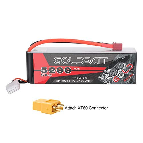 GOLDBAT 5200mAh 3S Lipo Battery 11.1V 50C LiPo RC Battery Soft Case Pack with Deans Plug and XT60 Connector for RC Evader BX Car RC Truck Truggy RC Hobby