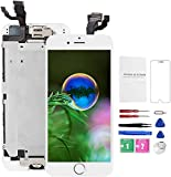 Mobkitfp for iPhone 6 Screen Replacement Full Assembly White, Pre-Assembled LCD Display Screen with Home Button+Camera+Earpiece+Sensors for A1549, A1586, A1589, W/Repair Tools+Magnetic Screw Mat