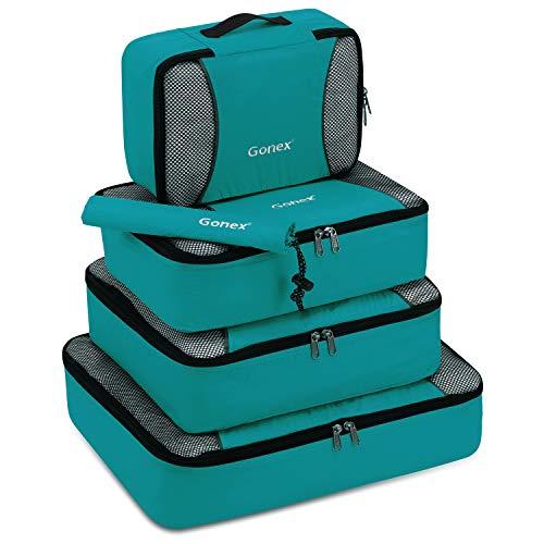 Gonex Organisateur Bagage Valise Sac Rangement Compression pour Voyage 5pcs Bleu-Vert