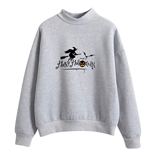 TEFIIR Damen Pullover mit Halloween-Buchstabenmuster Rundhal Sausschnitt Damen Sweatshirt Dünner Lässiger Shirt Geeignet für Dating, Freizeit und Urlaub