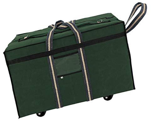 Storite Large Canvas Travel Storage Bag with Wheels (73.6x29.2x45.7 cm, Green)