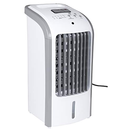URBNLIVING White 57 x 27 x 25 cm Small Portable Air Cooler Unit System with 3 Power Settings, Remote Control & Wheels - Functions as Fan, Air Cooler & Humidifier