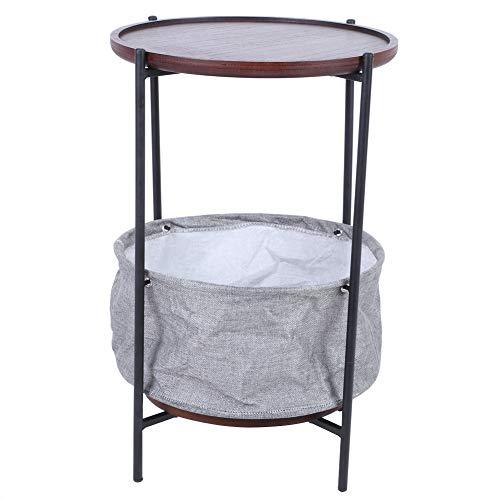 Mesas de té, mesa decorativa MDF + hierro con soporte de hierro Panel de relleno Cesta de tela Cesta de tela Tornillo de zócalo para el hogar para la sala de estar