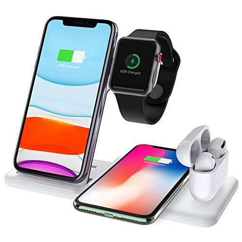 Hisri 4 in 1 Foldable Wireless Charging Stand for Apple Watch 5 4 3 Airpods Pro,15W Qi Fast Wireless Charger Charging Station Compatible iPhone 11 Pro X Xs XR Max 8,Samsung Galaxy S10 S9 Buds (White)