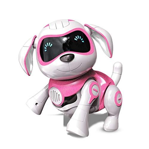 poi Cachorro Robô Sem Fio, filhote pequeno interativo, com caminhada, expressão divertida, robô que fala e dança inteligente, imita animais, mini robô de cachorro de estimação, rosa