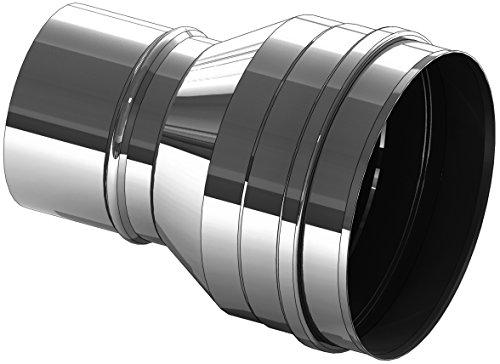 Schornstein Erweiterung von Ø115 mm auf Ø130mm in Rauchgasrichtung; 0,6mm Wandstärke, Edelstahl, EW einwandig