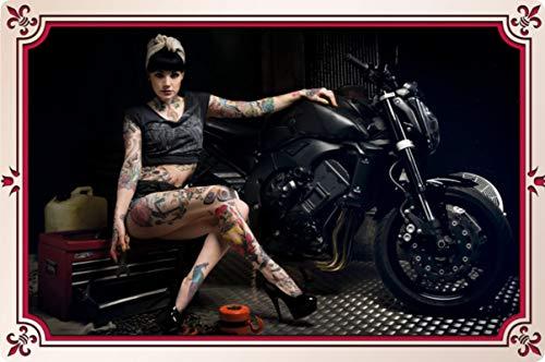 Generisch metalen bord 30 x 20 cm motorfiets vrouw tattoo biker motorfiets garage V-twin metalen bord