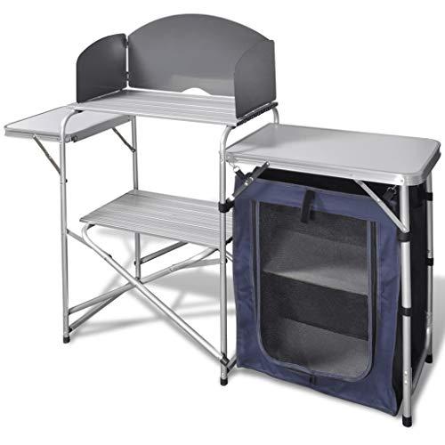 FAMIROSA Camping-Kochstation aus Aluminium zusammenklappbar mit Windschutz