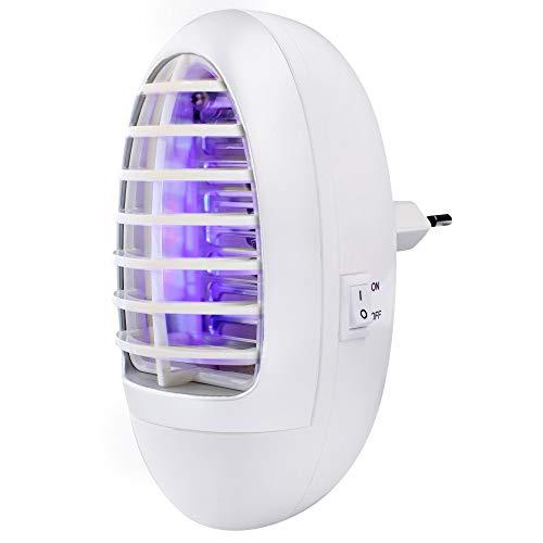 unkown 48753 Prise anti-moustiques à lumière bleue   Design moderne   Avec lumière UV   Protection efficace contre les gousses gênantes   Convient aux personnes allergiques et certifié CE Blanc