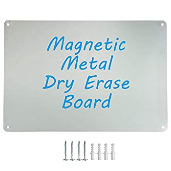 Houseables Magnetic Board Magnet Display Bulletin Panel Grey 17.5  Wide x 12  High Small Metal Steel Sheet Heavy Duty Decorative Memo Dry Erase for Wall Refrigerator Writing Kids