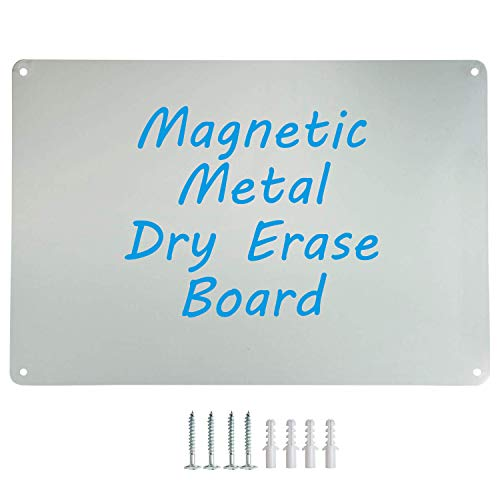 """Houseables Magnetic Board, Magnet Display, Bulletin Panel, Grey, 17.5"""" Wide x 12"""" High, Small, Metal, Steel Sheet, Heavy Duty, Decorative Memo, Dry Erase, for Wall, Refrigerator, Writing, Kids"""