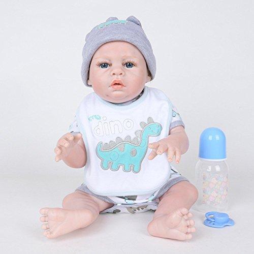 Babypuppen,Simulation Baby Doll Rebirth Doll 50CM Vollplastik Silikonpuppe Baby Blue Eyes, 50cm