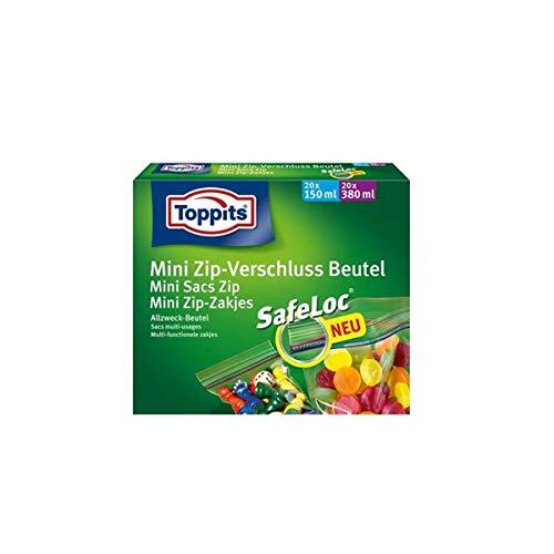 Toppits Mini Zip Mehrzweck-Beutel 20 x 150 ml + 20 x 380 ml/mit luftdichtem Verschluss