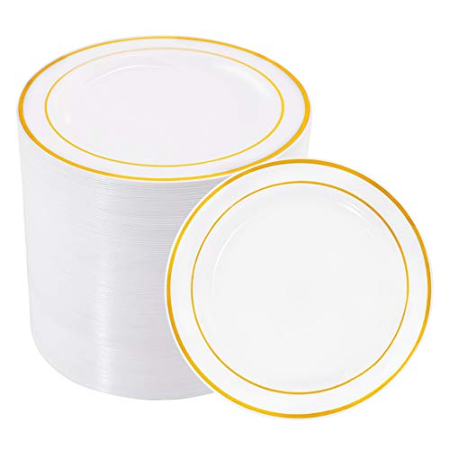 BUCLA 100Pieces Gold Plastic Plates -6.25inch Disposable Salad/Dessert Plates- White with Gold Rim Premium Hard Plastic Appetizer Plates/Small Cake Plates for Weddings& Parties